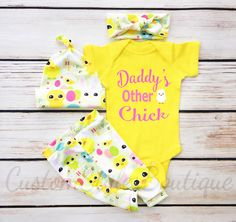 Baby Girls First Easter Outfit, Daddy's Other Chick, Easter Leggings, Hat & Headband, Baby Girl Coming Home, My 1st Easter, Yellow Bodysuit by CustomStylesBoutique on Etsy https://www.etsy.com/listing/520674137/baby-girls-first-easter-outfit-daddys