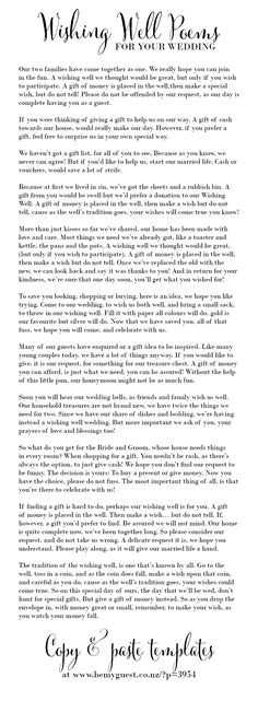Asking for gifts and wishing well poems - a heap of wishing well wording ideas and copy/paste templates http://www.southernbride.co.nz/wishing-well-poems/