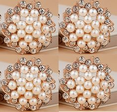 4 Flat Back Rhinestone Button Pearl Button Flower by Mydesign63