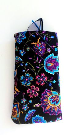 Modern black floral fabric eyeglass case quilted and padded