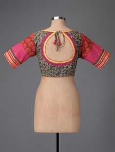 Grey-Red Hand-painted Kalamkari Cotton Blouse with Embroidery