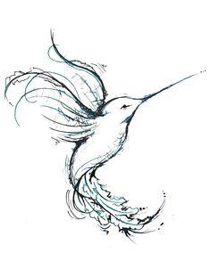 Unique Hummingbird Tattoos   Just a quick ink drawing of a cute little Hummingbird.