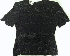 Vintage Stenay Sequined Beaded Top Blouse 100% Silk Black Size S #Stenay #Top