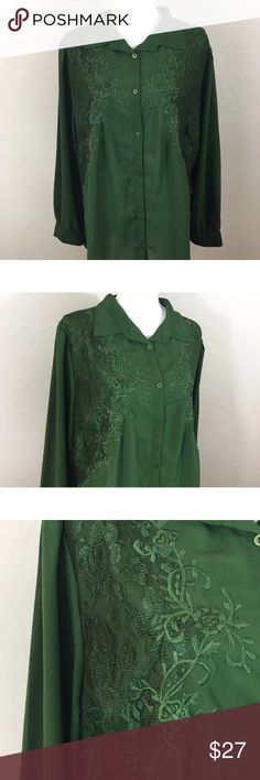 """Denim 24/7 Green Chiffon Semi Sheer Lace Blouse Denim 24/7 Green Chiffon Semi Sheer Lace Long Sleeve Blouse Plus Size 20 W.  As we know all women's bodies are beautifully different, please check measurements before purchasing.  Measurements taken with item laying down flat: Bust:50"""" Length:29""""  Bin:E109 Denim 24/7 Tops Button Down Shirts"""