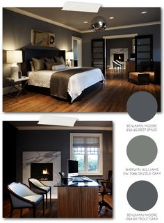 Pulp Sourcebook: Modern Craftsman Master Bedroom #paint #shop... love the colors and the warmth in that room - just add a little more light