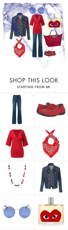 """Rouge & Denim"" by fernandaalmeida-1 on Polyvore featuring Frame Denim, Stacy Adams, Marc Jacobs, Longchamp, Kim Rogers, LE3NO and Comme des Garçons"