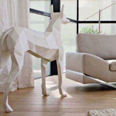 Origami ceramic dog