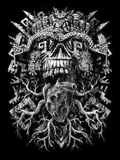 Aztec Skull Art Print sold by Qetza. Shop more products from Qetza on Storenvy, the home of independent small businesses all over the world. Lettrage Chicano, Chicano Art Tattoos, Skull Tattoos, Evil Tattoos, Chicano Drawings, Tatoos, Mayan Tattoos, Tattoos Realistic, Aztec Tattoo Designs