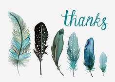 Margaret Berg Art: Five Blue Feathers Thank You