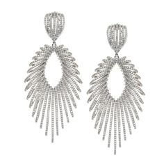 Multi-Loop Teardrop Diamond Gold Earrings   From a unique collection of vintage drop earrings at https://www.1stdibs.com/jewelry/earrings/drop-earrings/