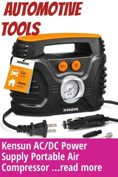 (This is an affiliate pin) Kensun AC/DC Power Supply Portable Air Compressor Pump with Analog Display to 100 PSI for Home (110V) and Car (12V), Tire Inflator with Adaptors for Cars, Trucks, Bicycles, Balls