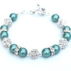 Bridesmaid Jewelry Jade Green Pearl Rhinestone by AMIdesigns, $24.00