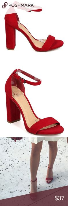 SOLD Red chunky heels Just like Steve Madden carrson worn for 3 hours NOT  SM Steve Madden Shoes Heels