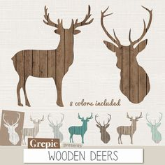 """Deer clip art: """"WOODEN DEERS"""" high resolution deers in 8 different colors shabby wood, brown, grey, teal, distressed, white, for christmas #etsy #scrapbooking"""