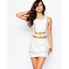 The Laden Showroom X Rok & Rebelle Crop Top with Eyelet and Jumpring... (135 AUD) ❤ liked on Polyvore featuring tops, cream, cutout top, white top, metallic top, cut-out tops and cut out crop top