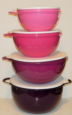 Tupperware Thatsa Bowl Set of 4 Pink and Purple -- Stop everything and read more details here! : Baking mixing bowls
