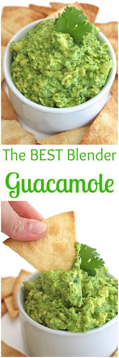 Make great guacamole in your blender in a matter of minutes. This guacamole is seriously the best! I couldn't let Cinco de Mayo come and go without sharing our favorite guacamole recipe! It's got lots of cilantro, a little onion, juice of a lime, a hint of garlic, as much jalapeno spice as you'd like...