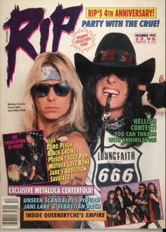 Motley Crue on the cover of RIP Magazine December 1990