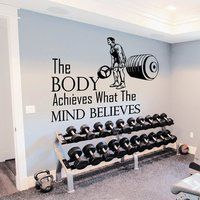 Wall Decals Quotes Sport The Body Achieves Gym Bedroom Decal Vinyl Decor Vinyl Decor, Vinyl Wall Decals, Wall Stickers, Sticker Vinyl, Best Home Gym Setup, At Home Gym, Gym Quotes Inspirational, Motivational Quotes For Working Out, Home Gym Design