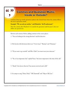 Commas and Quotations Marks Worksheet Practice Activty. Like the period, in the U. commas almost always go inside the quotation marks. You can help your student get a firm grasp on this use of punctuation with this worksheet. Punctuation Quotation Marks, Punctuation Worksheets, 1st Grade Worksheets, Vocabulary Worksheets, English Grammar, Editing Marks, Direct And Indirect Speech, Writing Folders