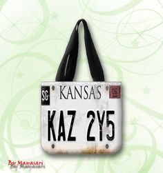 """License Plate Supernatural Custom Tote Bag (one side)  A great every day bag to take you through your day!  Product Details Size: 12.2"""" x 11"""" x 3.3"""" This 100% heavyweight 10 oz cotton canvas tote bag #SPN #supernatural"""