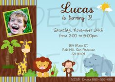 Jungle safari  birthday  invitation. Digital File