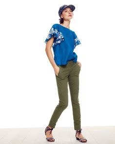 J.Crew women's embroidered linen flounce top and Andie chino pant. - June 2014 J.Crew- Rajasthan, India, patterns