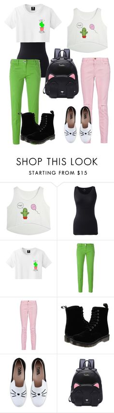 """""""Cactus and cats"""" by whovian-vigilante on Polyvore featuring Lands' End, Jacob Cohёn, Current/Elliott, Dr. Martens and Karl Lagerfeld"""