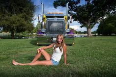 That's what Ronnie King's wife had to say about this Ripe & Ready, this 1994 Peterbilt 379 – pictured with model Shelby – after he laid on the bright yellow Peterbilt 379, Peterbilt Trucks, Show Trucks, Big Trucks, 10 4 Good Buddy, Logging Equipment, Heavy Construction Equipment, Diesel Cars, S Car