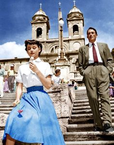 "Audrey Hepburn and Gregory Peck in ""Roman Holiday"" eating ice cream on the Spanish Steps in Rome."