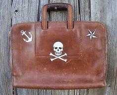 Selling on eBay Week of 11/23/14 $9.99 NR  from Vintagetravellers. Vintage Leather Briefcase Hand Painted.