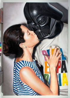 Kissing Darth Vader - Acrylic Painting by Victor Rodriguez