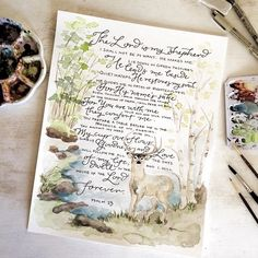 Psalm 23 watercolor, hand lettered print in 8x10 and 11x14 (Starting at $16) — gracelaced