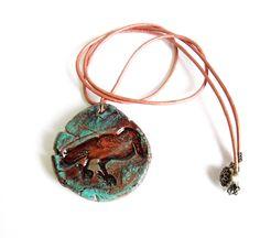 Rustic ceramic bird necklace - copper patina and terracotta #jewelry #681team http://www.etsy.com/treasury/MjI4ODc1NzB8MjcyMDcyMjgzMQ/rustic-finds?index=1