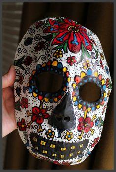 Dia de los Muertos mask; an easy DIY papier mache project for Halloween