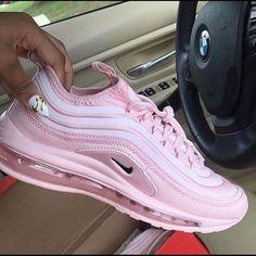 Nike Jayson Tatum x Air Max 97 'Saint Louis Roots' – yeezy running shoes Cute Nike Shoes, Cute Nikes, Nike Air Shoes, Air Max Sneakers, White Sneakers Nike, Pink Nike Shoes, Pink Sneakers, Sneaker Outfits, Converse Sneaker