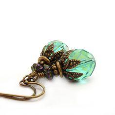 Aqua Drop Earrings  Blue Czech Glass  by RockStoneTreasures, $34.00