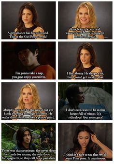 The 100 & Big Brother crossover (part4) by no-one-and-everyone (Tumblr) || Octavia Blake (Marie Avgeropoulos), Clarke Griffin (Eliza Taylor), Monty Green (Chris Larkin), John Murphy (Richard Harmon), Finn Colliins (Thomas McDonell), Raven Reyes (Lindsey Morgan)
