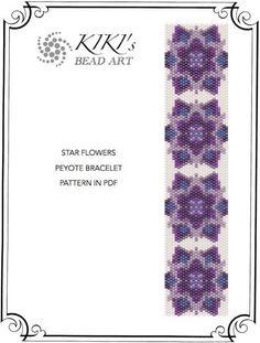 Pattern, peyote bracelet - Star flowers peyote bracelet cuff pattern in PDF instant download