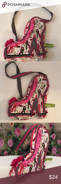 """SASSY PET SACKS 👠 bag Kids Crossbody NWOT Absolutely adorable sassy pets sack,  by Douglas little girls high heel shoe cross body bag! Oh my goodness this is adorable!! Zip top , easy reaching in & grab! Cute flower on the toe and adorable checkered strap! Comes retail wrapped!  Perfect for your little diva! Pink cloth lining and bag is washable! Easy upkeep for the BUSY, diva! 🍭🧒.  Ask questions,  if needed as all Poshmark sales are final! Shipped with care. Measures, approx 8"""" wide 2 """"…"""