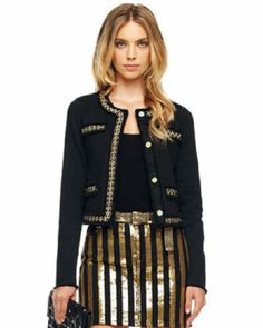 Michael Kors Chain Trim Jacket in Gold Michael Kors Jackets, Michael Kors Black, Edgy Look, Tweed Jacket, Shorts, Black Denim, Black Leather, Passion For Fashion, Menswear