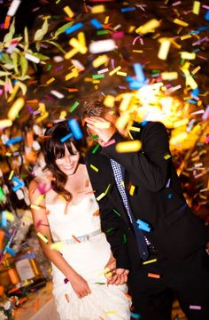 Confetti is a newer alternative to rice. It's something fun to throw in the air for kids and adults. It can also add a wealth of color to your wedding or simply fit the theme colors. It's relatively easy to clean up, at least in comparison to rice and again, makes a memorable photo. You can also mix it up with metallic confetti or glitter!