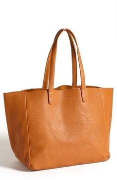 $240, Orange Leather Tote Bag: Baggu Leather Tote. Sold by Nordstrom. Click for more info: https://lookastic.com/women/shop_items/66886/redirect