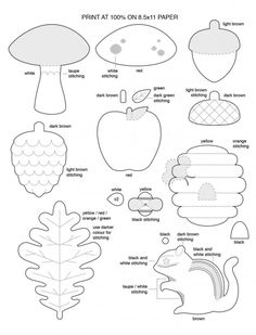 Free Template for Felt Woodland Creatures Pattern - chipmunk, oak leave, acorn, toadstool, apple, pine cone, and beehive by aisha