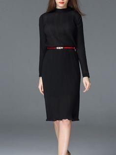 Ribbed Plain Chiffon Midi Dress