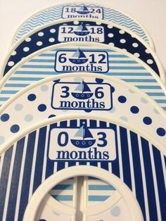 5 Custom Baby Closet Dividers - Navy Aqua Nautical Sailboats - Baby Boy Shower Gift Nursery - Custom Nautical Baby Closet Organizers on Etsy, $15.00