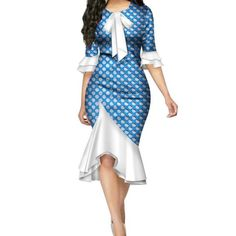 Fashion Vestidos African Dresses for Women Bazin Riche Bow Knot Patchwork Dress . - Fashion Vestidos African Dresses for Women Bazin Riche Bow Knot Patchwork Dress Traditional African Women Clothing Source by - Short African Dresses, Latest African Fashion Dresses, African Print Fashion, Africa Fashion, Mode Outfits, Dress Outfits, Bow Dresses, Shweshwe Dresses, African Fashion Designers