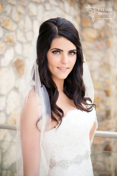 Stunning Brunette half up half down for this wedding at the Sandos Finisterra in Cabo by www.suzannemorel.com #allinclusive #hairandmakeup #cabowedding