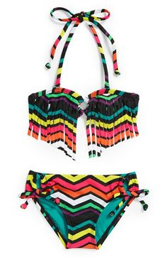Roxy Fringe Halter Bandeau Two-Piece Swimsuit (Toddler Girls) available at #Nordstrom