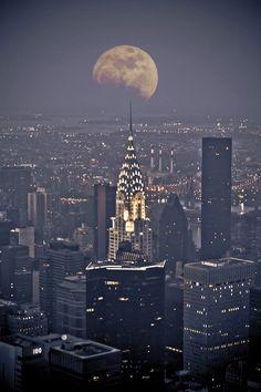 New York. Chrysler Building in the moonlight.